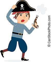 Pirate character running with pistol