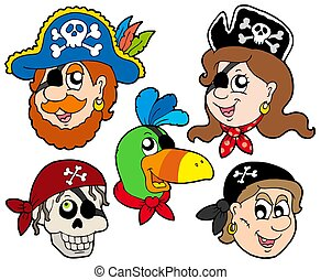 Pirate characters collection - isolated illustration.