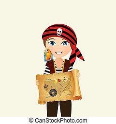 pirate child with treasure hunt