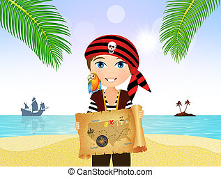 pirate child with treasure map on parchment