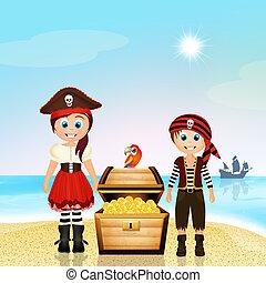 pirate children - illustration of pirate children
