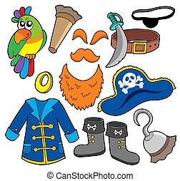Pirate clothes collection - isolated illustration.
