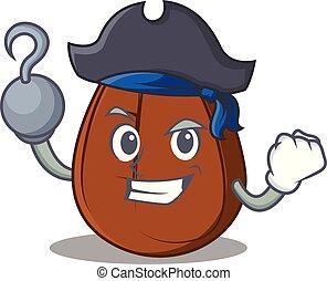 Pirate coffee bean character cartoon
