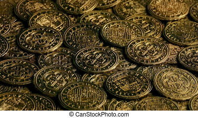 Pirate Coins In Pile Turning Slowly - Closeup of historic...