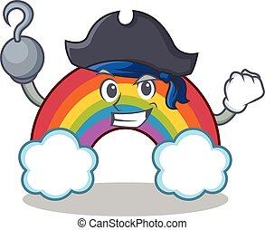 Pirate colorful rainbow character cartoon