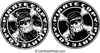 pirate copy stamp - Vector image print an old seal with...