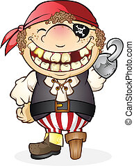 A goofy kid with a huge toothy smile dressed up as a pirate for halloween
