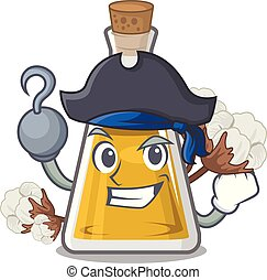 Pirate cottonseed oil in a mascot bottle vector illustration
