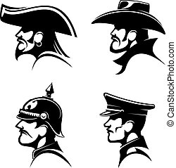 Pirate, cowboy, prussian general, german soldier