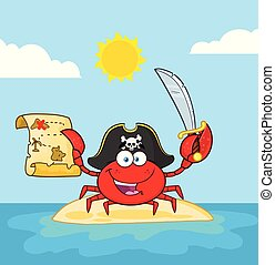 Pirate Crab Cartoon Mascot Character Holding A Treasure Map And Sword On An Island