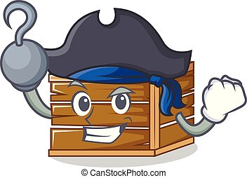 Pirate crate character cartoon style