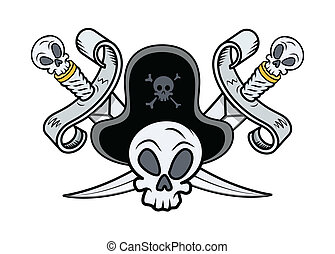 pirate captain skull and crossed swords vector sketch grunge
