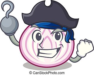Pirate cut in half slice onion cartoon