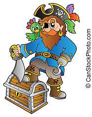 pirate, debout, sur, poitrine trésor