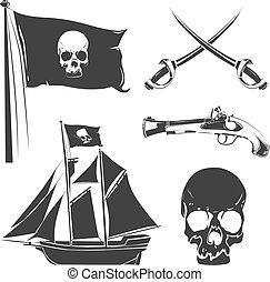 Pirate elements for vintage vector logo, labels and badges