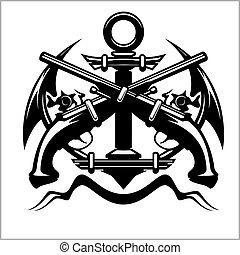 Pirate Emblem - Anchor and Pistol - Vector illustration...