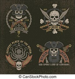 Pirate emblem in grunge style. Perfectly suited for print on...