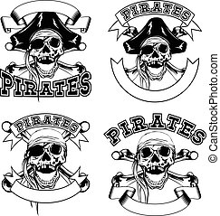 Pirate emblem skull set