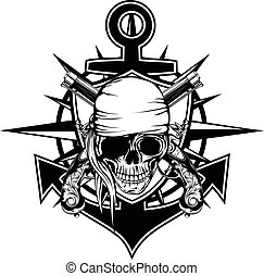 Pirate emblem skull