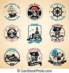 Pirate emblems vintage old paper set