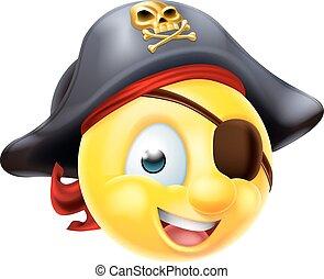 Pirate Emoji Emoticon - A pirate emoji emoticon smiley face...