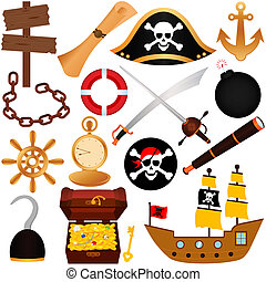 Pirate, equipments, sailing - A colorful vector Theme of...