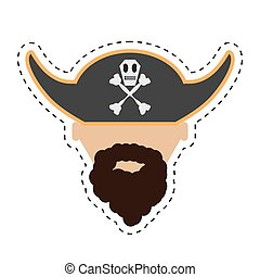 pirate face beard hat with skull bones cut line