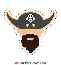 pirate face beard hat with skull bones cut line
