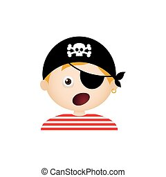 Pirate Facial Expression - Isolated boy with a halloween...