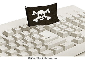 Pirate Flag and Computer Keyboard, concept of Computer...