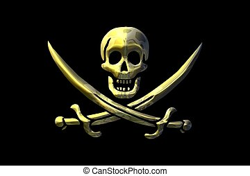 pirate flag -  skull and swords over a black background