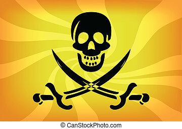 Pirate Flag - illustraion of pirate flag with white skull...