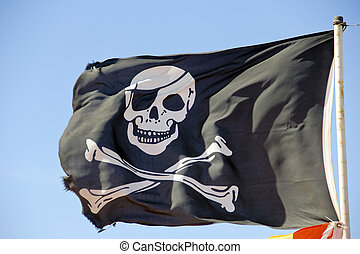 pirate flag flying against a blue sky