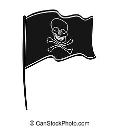 Pirate flag icon in black style isolated on white background. Pirates symbol stock bitmap, rastr illustration.