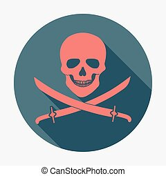 Pirate flag icon, jolly roger, skull and sabers. Flat design vector illustration.