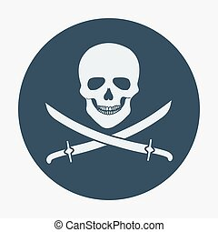 Pirate flag icon, jolly roger, skull and sabers. Flat design...