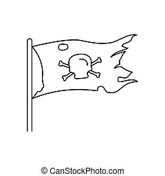 Pirate flag icon, outline style