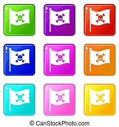 Pirate flag icons 9 set