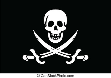 Pirate Flag - illustraion of pirate flag with white skull...