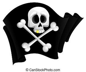 Pirate flag - illustration of black pirate flag with skull