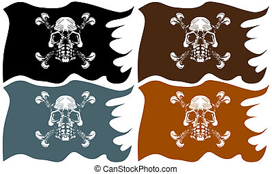 Pirate Flag isolated on a white background.