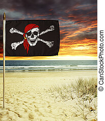 Pirate flag in sand