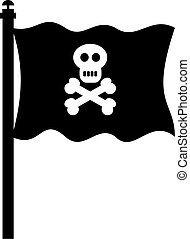 pirate flag - isolated black pirate skull and crossbones...