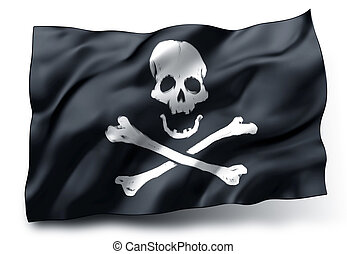 Pirate flag Jolly Roger - Black pirate flag with skull and...