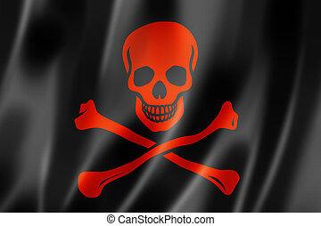 Pirate flag, Jolly Roger, three dimensional render, satin...