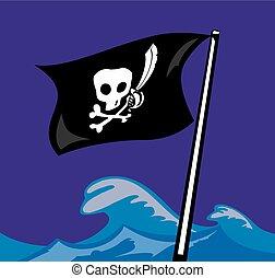 Pirate Flag. Jolly Roger. Vector flat illustration