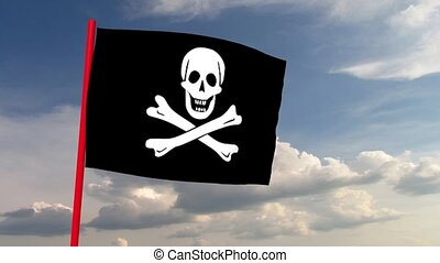 Pirate flag on red pole against the backdrop of heaven with dramatic clouds. Computer animation. Symbol of skull and crossed bones, wind simulation