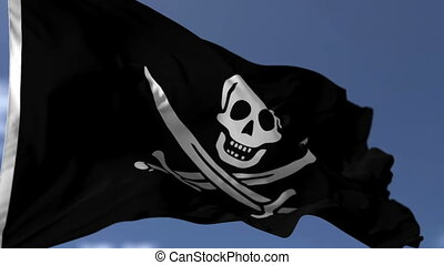 Pirate Flag on the Wind - Pirate flag blowing on the wind...