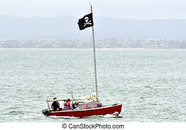 Pirate Flag - A sail boat with Jolly Roger - Flag of a...