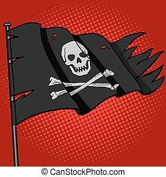 Pirate flag pop art style vector illustration. Comic book...